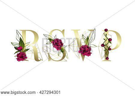 Inscription Of Rsvp For Greeting Card Design. Floral Decor.