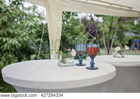 Backyard Barbeque Party At Summer, Elegant Decoration, Luxury Catering, Tasty And Beautiful Drink On