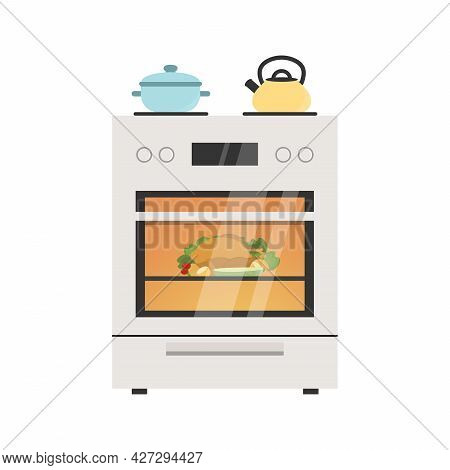 Kitchen Stove Flat Vector Illustration With Pot And Kettle On The Stove. Baking Chicken In The Oven.