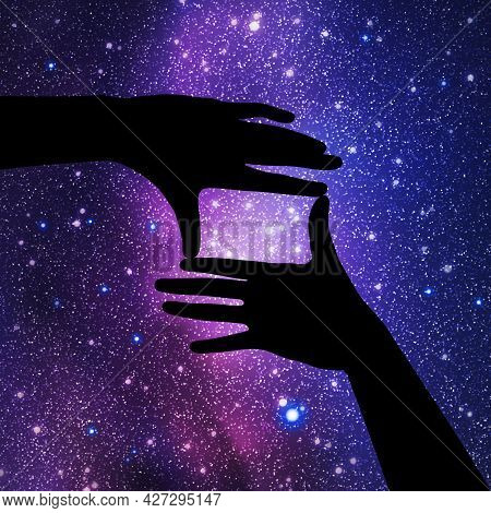 Framing Hands. Hand Gesture Silhouette. Night Starry Sky And Milky Way