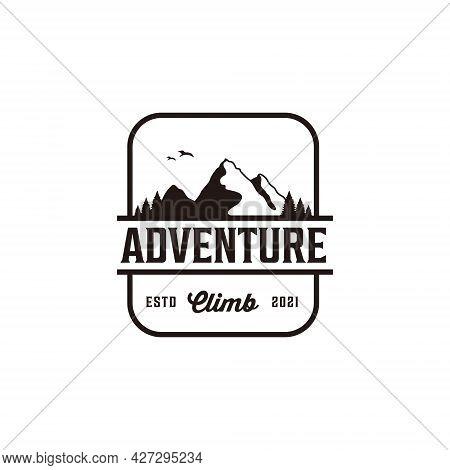 Vintage Retro Silhouette Mountain Peak Adventure Logo. Logo Can Be Used For Icon, Brand, Identity, H