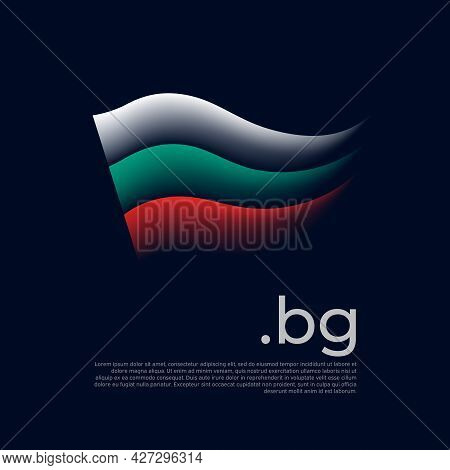 Bulgaria Flag. Stripes Colors Of The Bulgarian Flag On A Dark Background. Vector Stylized Design Nat