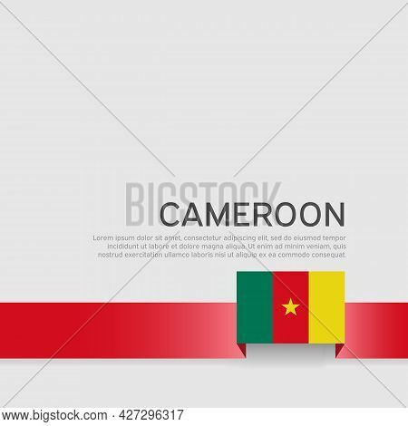 Cameroon Flag Background. State Patriotic Banner, Cover. Ribbon Color Flag Of Cameroon On A White Ba