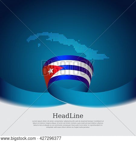 Cuba Flag, Mosaic Map On Blue White Background. Wavy Ribbon With The Cuban Flag. Vector Banner Desig