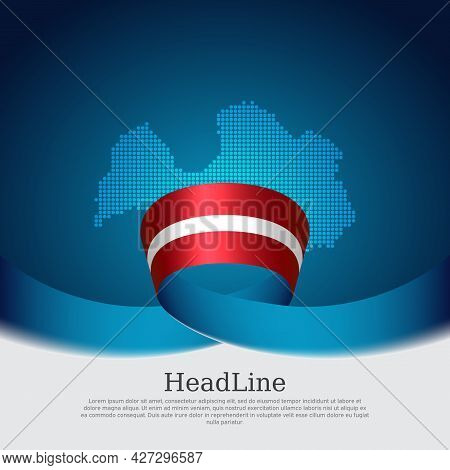 Latvia Flag, Mosaic Map On Blue White Background. Wavy Ribbon With The Latvian Flag. Vector Banner D