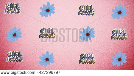 Composition of text girl power on pink background. girl power, positive female strength and independence concept digitally generated image.