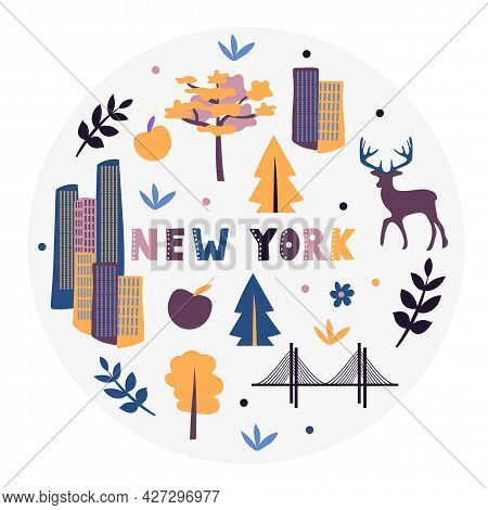 Usa Collection. Vector Illustration Of New York. State Symbols - Round Shape