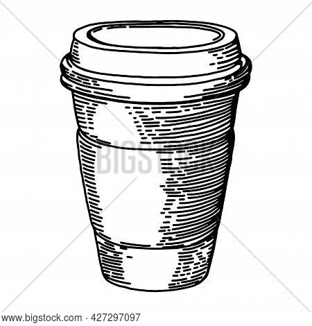 Hot Coffee Disposable To Go Cup. Isolated On A White. Hand Drawn Vector Illustrations