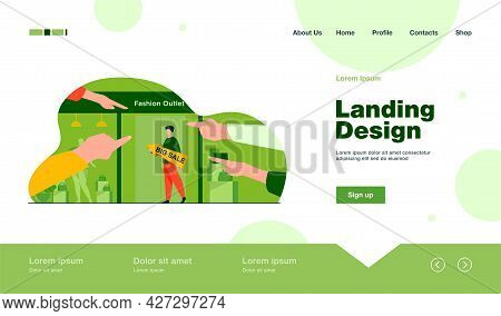 Big Sale In Fashion Outlet. Man With Pointer Standing At Glass Door, Pointing Hands Flat Vector Illu