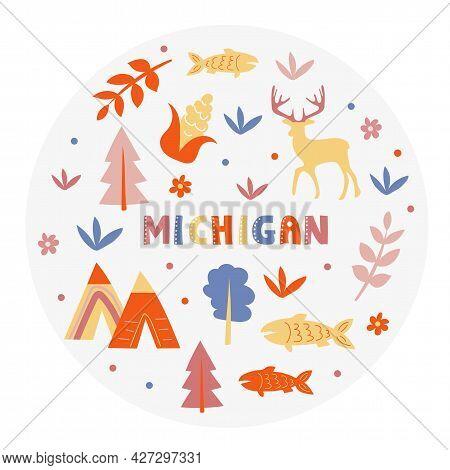 Usa Collection. Vector Illustration Of Michigan. State Symbols - Round Shape