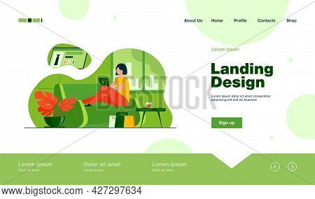 Happy Customer Shopping Online. Woman With Tablet On Couch At Home, Bags, Hot Drink Flat Vector Illu