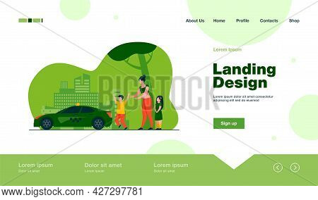 Woman With Children Catching Taxi. Kid, Vehicle, City Flat Vector Illustration. Transportation And U