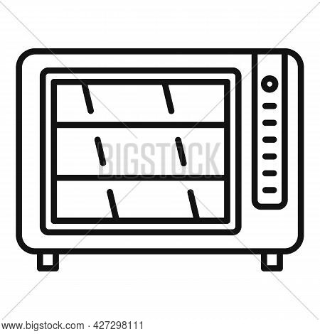 Convection Oven Timer Icon Outline Vector. Cook Stove. Electric Kitchen Oven