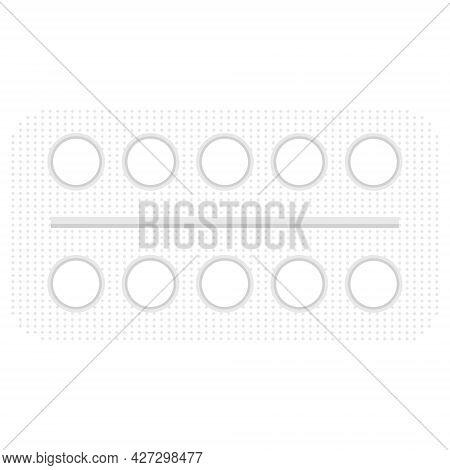 White Pills In A Palette. Vector Illustration
