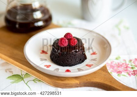 Chocolate Fondant Cake. Mini Cake For Fondant With Chocolate Icing. Delicious  Dessert.homemade Choc