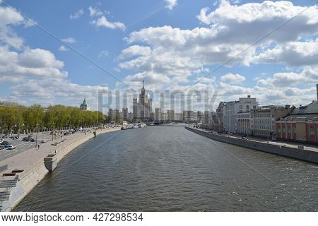 Moscow, Russia. Panorama Of Moscow. Old Skyscraper And The Moscow River.