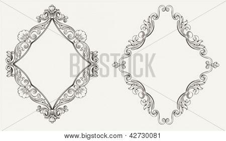 Two Original Calligraphy Rhombus Frames