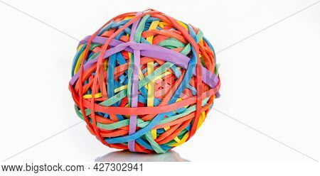 tangle  color  elastic rubber on white
