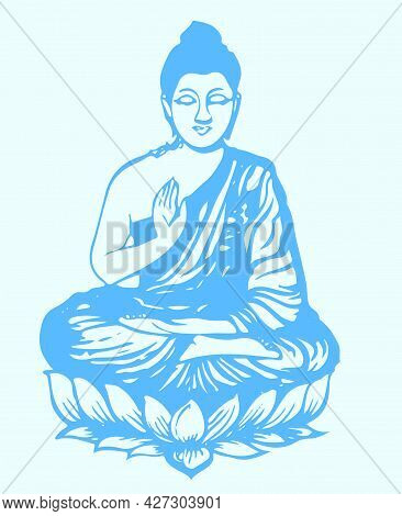 Sketch Of Peace God Lord Buddha Outline And Silhouette Editable Illustration