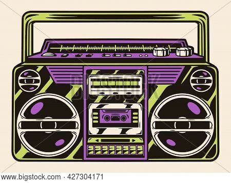 Colorful Classic Retro Portable Boombox In Vintage Style Isolated Vector Illustration