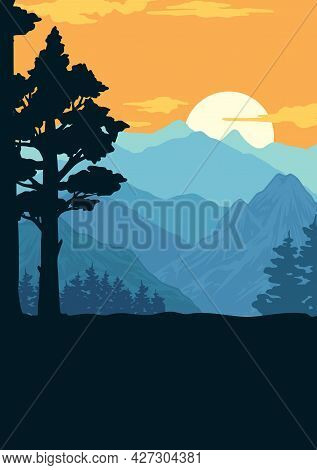 National Park Colorful Vintage Template With Tree Silhouette On Clouds Mountains And Sunrise Landsca