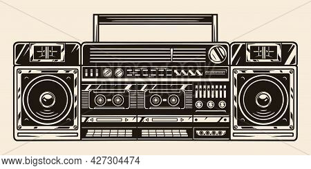 Big Retro Cassette Stereo Recorder Concept In Vintage Monochrome Style Isolated Vector Illustration