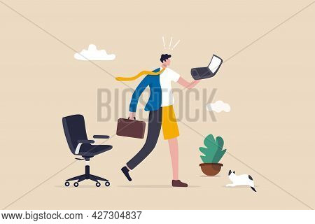 Hybrid Work After Covid-19 Crisis, Employee Choice To Work Remotely From Home Or On Site Office For