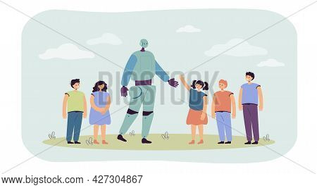 Group Of Children Greeting Robot Flat Vector Illustration. Boys And Girls Amazed By New Technology.