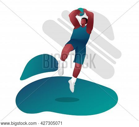 An African-american Basketball Player In The Ball Jump. A Basketball Game, Competitions. The Jump Pl