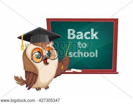 Owl In Graduation Cap Standing Near Blackboard. Back To School. Wise Owl Cartoon Character. Stock Ve
