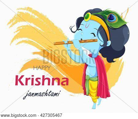 Happy Krishna Janmashtami Greeting Card. Lord Krishna Kid Paying Flute. Stock Vector On Abstract Bac