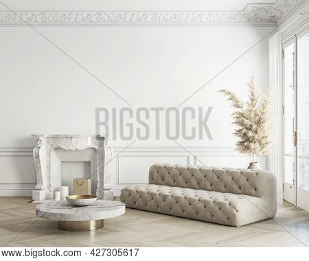 Classic White Interior With Sofa, Fireplace And Decor. 3d Render Illustration Mockup.