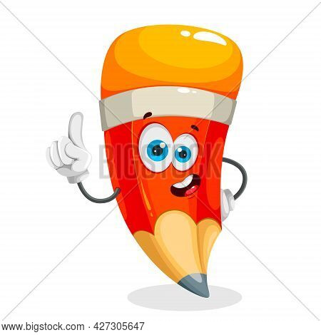 Funny School Pencil. Cheerful Pencil Cartoon Character. Back To School Concept. Stock Vector Isolate