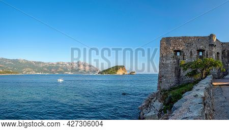 Summer Seascape With Turquoise Water Of Adriatic Sea And Sveti Nikola Island From Budva City In Mont