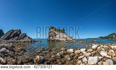Scenic View Of The Rocks And Sea On The Sveti Nikola Island. Montenegro, Adriatic Sea, Europe