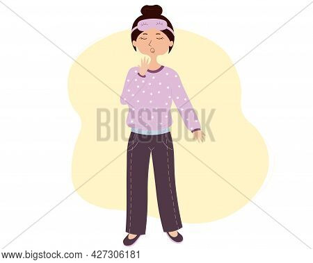 Cute Cartoon Yawning Girl In Purple Pajama