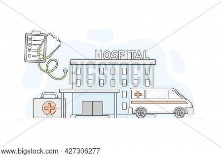 Municipal Or City Services For Citizen With Hospital Department Vector Illustration