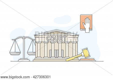 Municipal Or City Services For Citizen With Court Department Vector Illustration