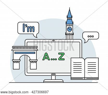 Online Profession With Learning Platform For English Language Study And Computer Interface Display L