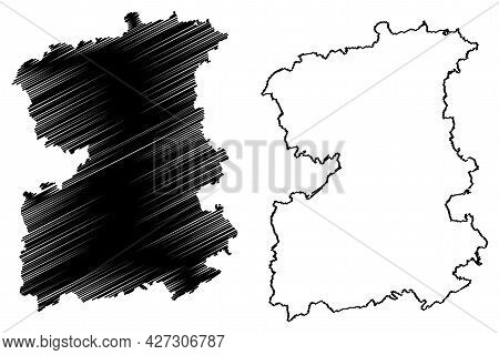 Saale-orla District (federal Republic Of Germany, Rural District, Free State Of Thuringia) Map Vecto