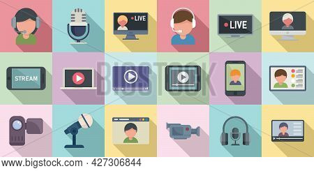 Stream Icons Set Flat Vector. Live Streaming. Video Watch