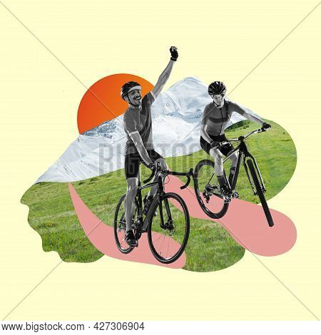 Riding A Bicycle. Bw Image Of Two Professional Cyclists, Man And Woman Riding Bicycles On Grass Amon