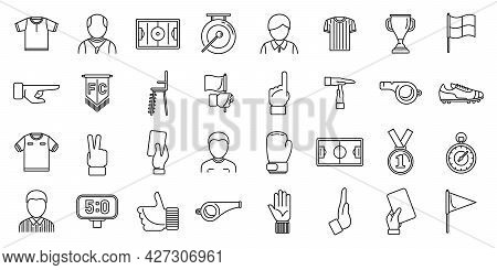 Match Referee Icons Set Outline Vector. Player Card. Referee Whistle