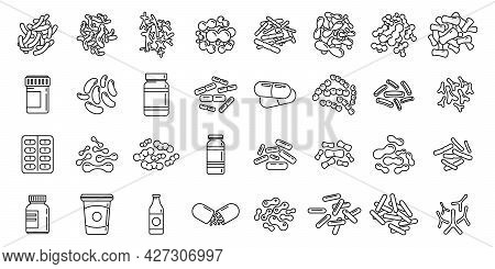 Probiotics Microbiology Icons Set Outline Vector. Stomach Bacteria. Micro Food