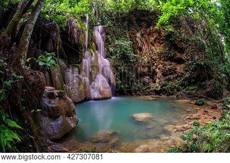 Wang Tong Waterfall Located In Buatong Waterfall And Chet Si Fountain National Park, Chiang Mai, Tha