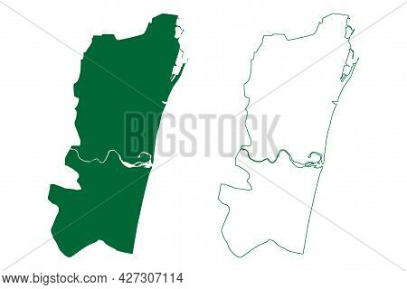 Chennai District (tamil Nadu State, Republic Of India) Map Vector Illustration, Scribble Sketch Madr