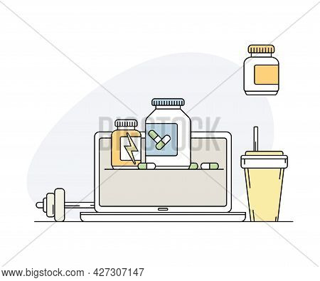 Online Sport And Physical Exercise With Laptop Screen And Dietary Supplement In Bottle Line Vector I