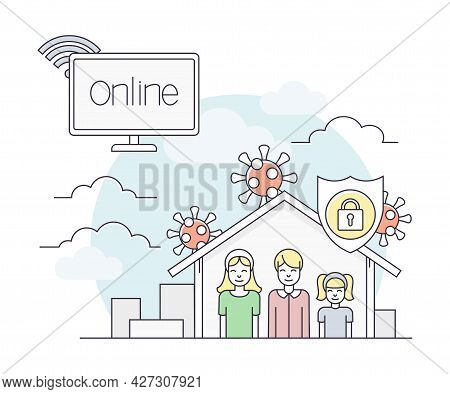 Pandemic With Lockdown As Safety Measure Line Vector Illustration