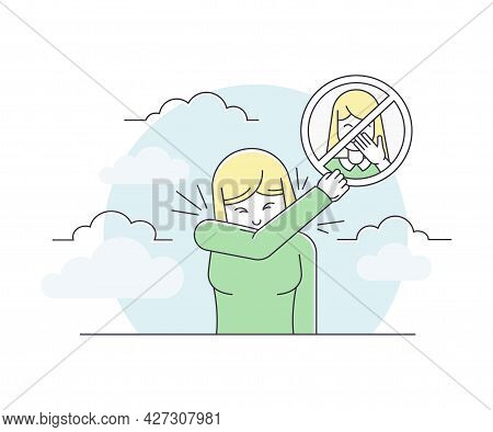 Pandemic With Woman Covering With Elbow While Coughing As Safety Measure Line Vector Illustration