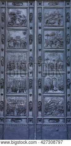 The Bronze Doors And The Colonnade Of The Kazan Cathedral In Saint-petersburg, Russia Under Soft Sun